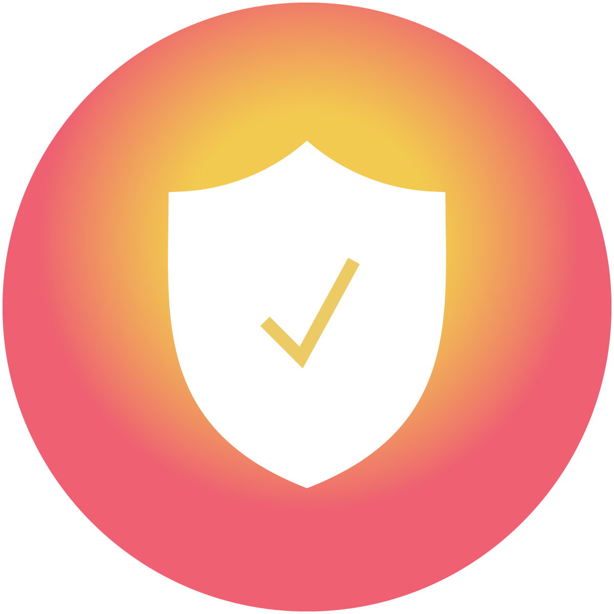 A check mark symbol on top of a shield, on top of a warm orange circle, signify that the chatbot offers trustworthy information.